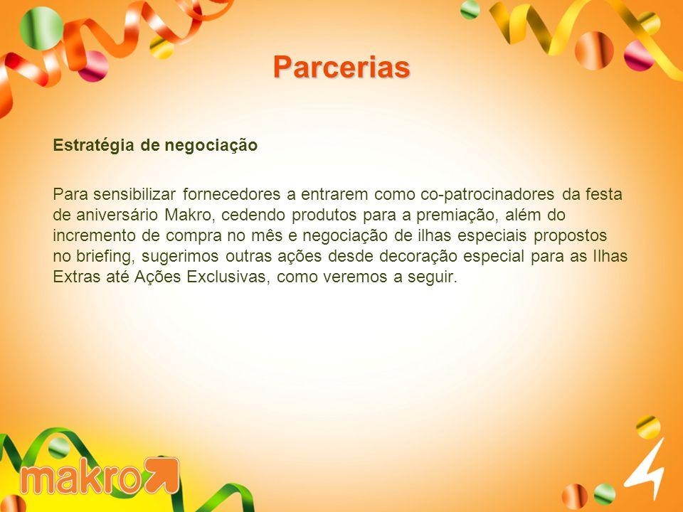 Parcerias Estratégia de negociação Para sensibilizar fornecedores a entrarem como co-patrocinadores da festa de aniversário Makro, cedendo produtos pa