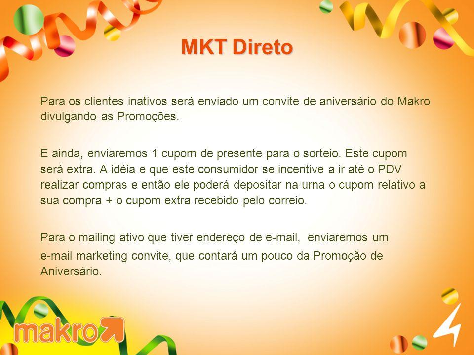 MKT Direto Para os clientes inativos será enviado um convite de aniversário do Makro divulgando as Promoções. E ainda, enviaremos 1 cupom de presente