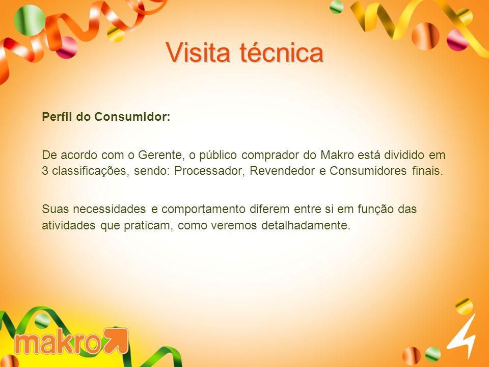 Visita técnica Perfil do Consumidor: De acordo com o Gerente, o público comprador do Makro está dividido em 3 classificações, sendo: Processador, Revendedor e Consumidores finais.