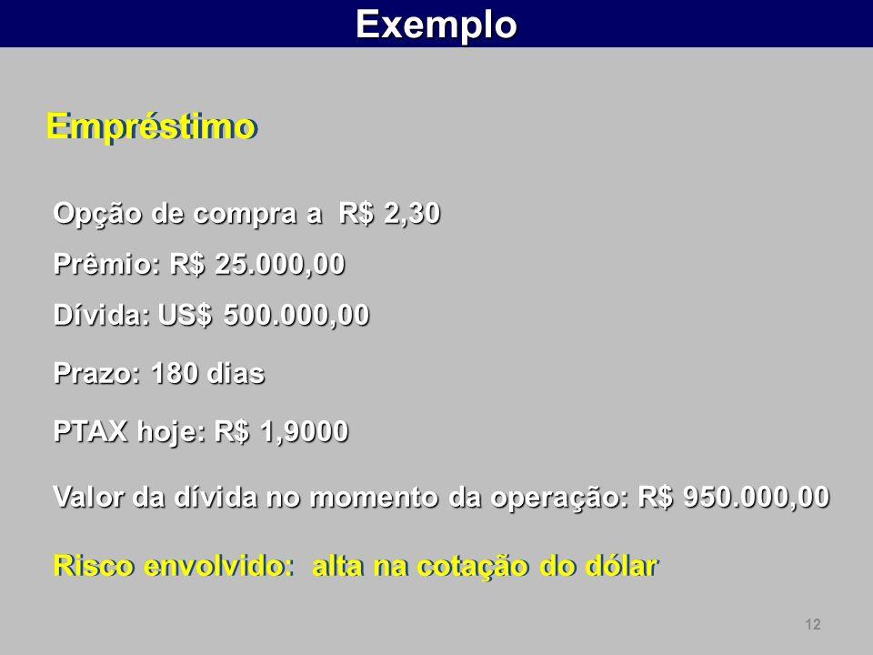 12Exemplo PTAX hoje: R$ 1,9000 Valor da dívida no momento da operação: R$ 950.000,00 Risco envolvido: alta na cotação do dólar Prazo: 180 dias Dívida: US$ 500.000,00 Prêmio: R$ 25.000,00 Empréstimo Opção de compra a R$ 2,30