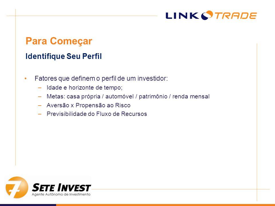 Fatores que definem o perfil de um investidor: –Idade e horizonte de tempo; –Metas: casa própria / automóvel / patrimônio / renda mensal –Aversão x Pr