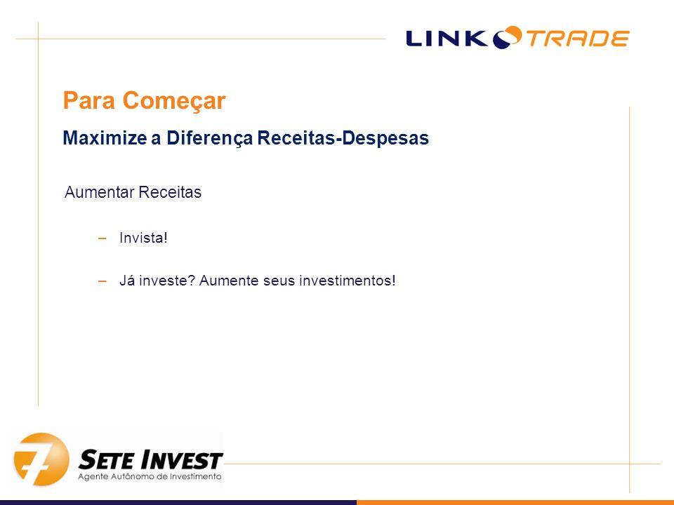 Aumentar Receitas –Invista! –Já investe? Aumente seus investimentos! Para Começar Maximize a Diferença Receitas-Despesas