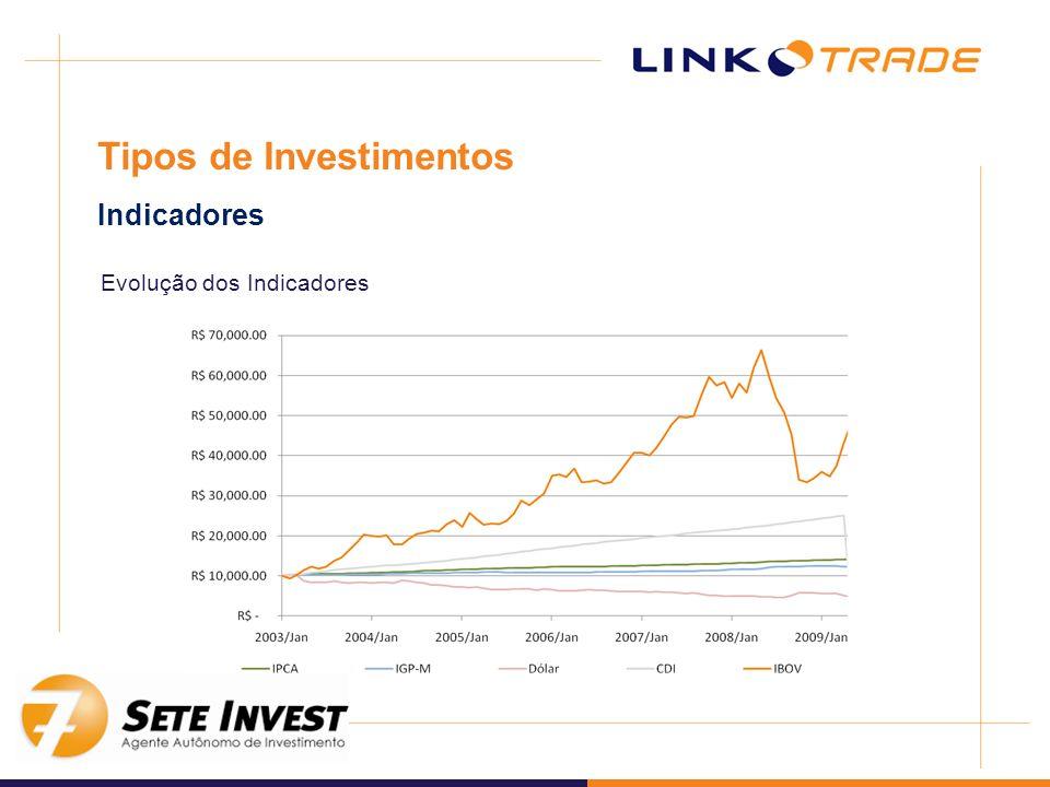 Evolução dos Indicadores Tipos de Investimentos Indicadores