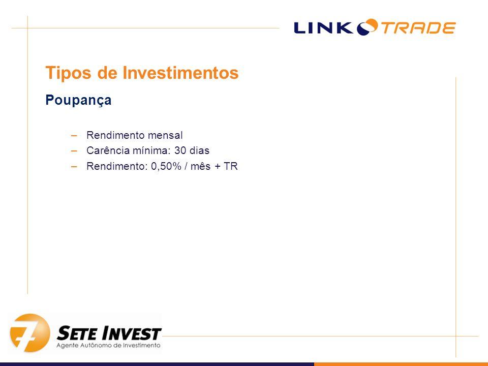 –Rendimento mensal –Carência mínima: 30 dias –Rendimento: 0,50% / mês + TR Tipos de Investimentos Poupança