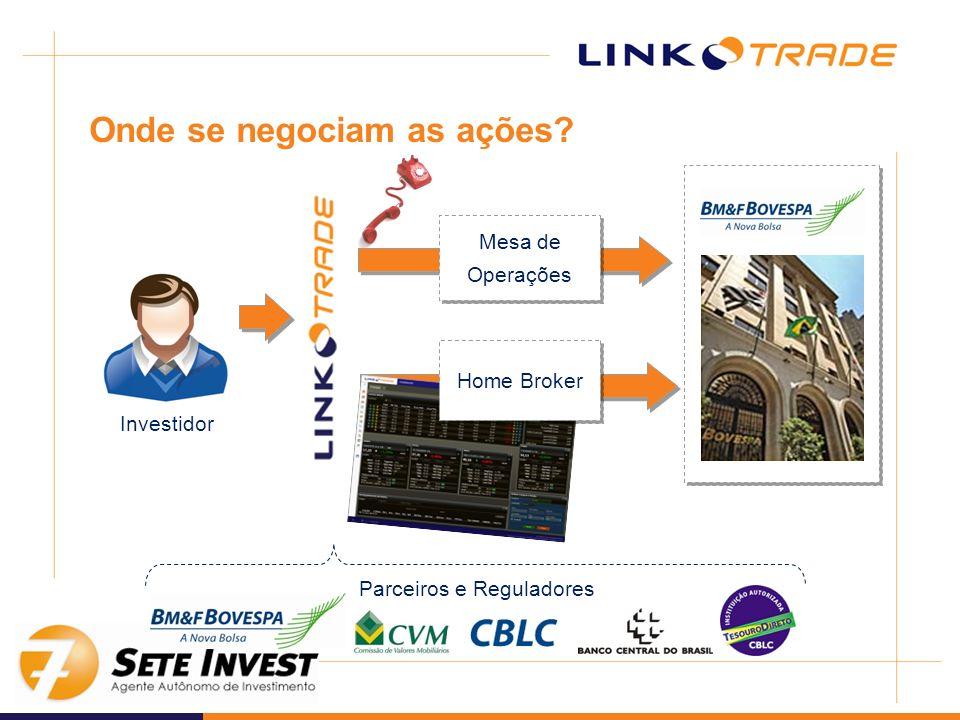 Onde se negociam as ações? Investidor Mesa de Operações Mesa de Operações Parceiros e Reguladores Home Broker