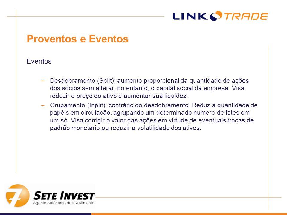 Proventos e Eventos Eventos –Desdobramento (Split): aumento proporcional da quantidade de ações dos sócios sem alterar, no entanto, o capital social d