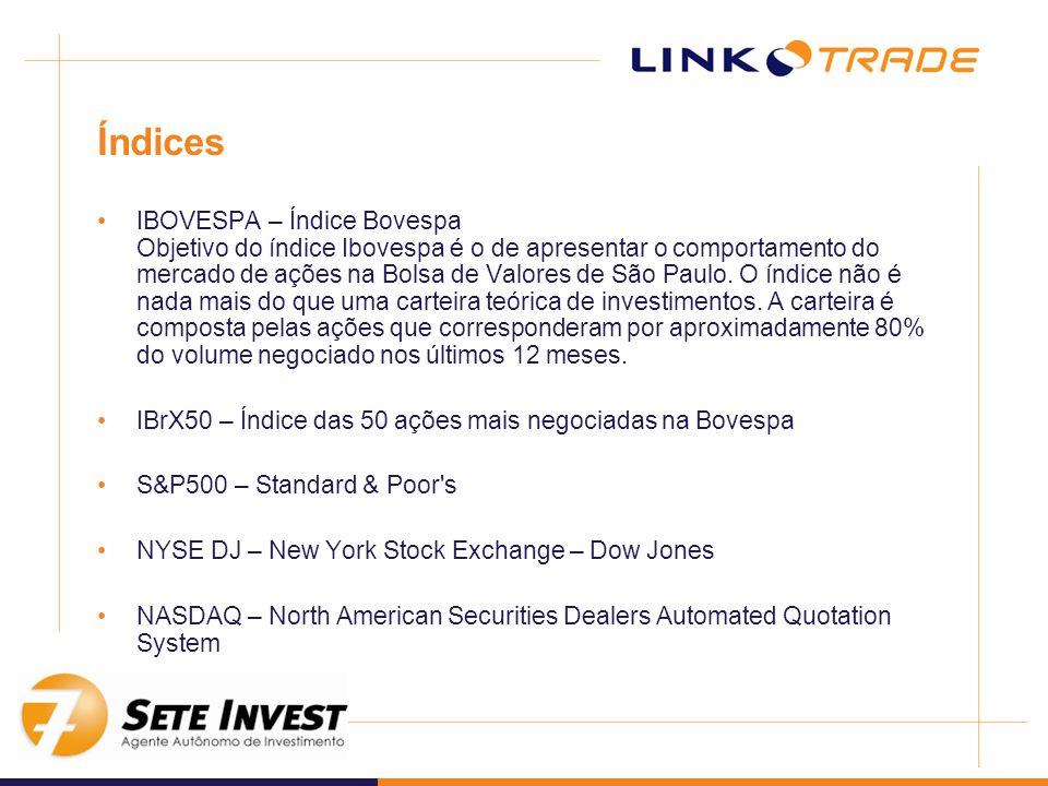 Índices IBOVESPA – Índice Bovespa Objetivo do índice Ibovespa é o de apresentar o comportamento do mercado de ações na Bolsa de Valores de São Paulo.