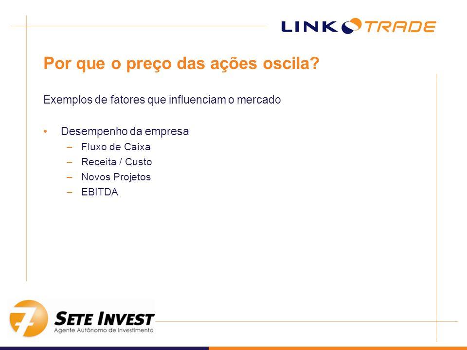 Por que o preço das ações oscila? Exemplos de fatores que influenciam o mercado Desempenho da empresa –Fluxo de Caixa –Receita / Custo –Novos Projetos