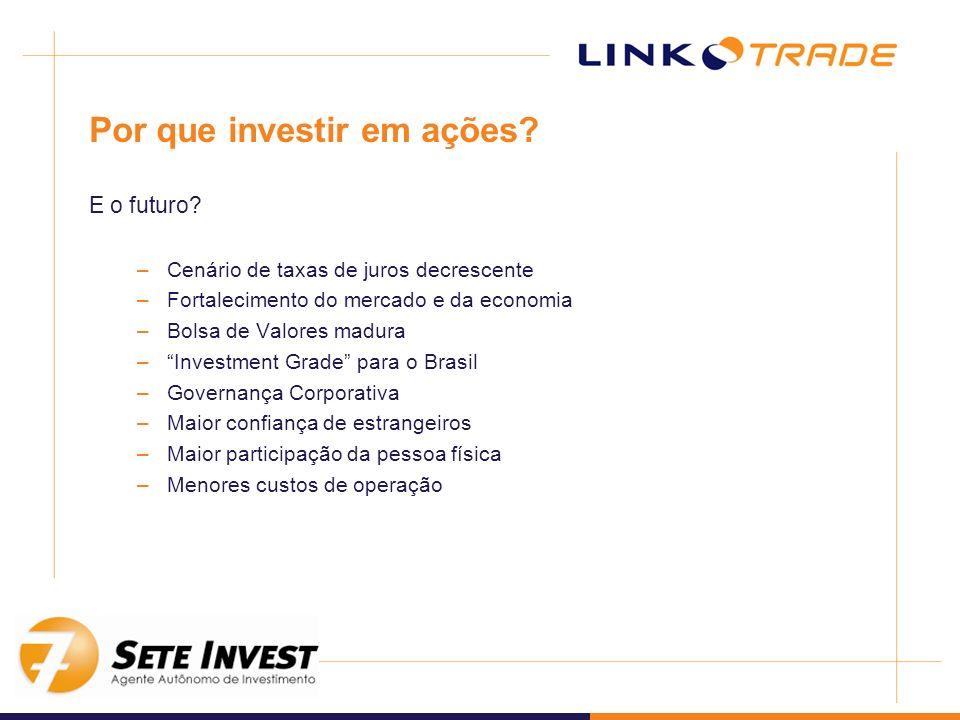 Por que investir em ações? E o futuro? –Cenário de taxas de juros decrescente –Fortalecimento do mercado e da economia –Bolsa de Valores madura –Inves