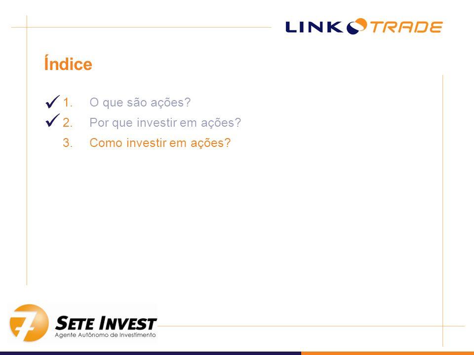 Índice 1.O que são ações? 2.Por que investir em ações? 3.Como investir em ações?