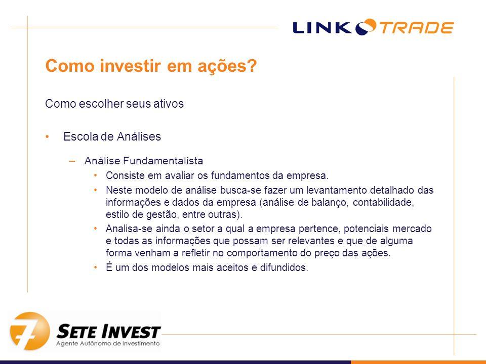 Como investir em ações? Como escolher seus ativos Escola de Análises –Análise Fundamentalista Consiste em avaliar os fundamentos da empresa. Neste mod