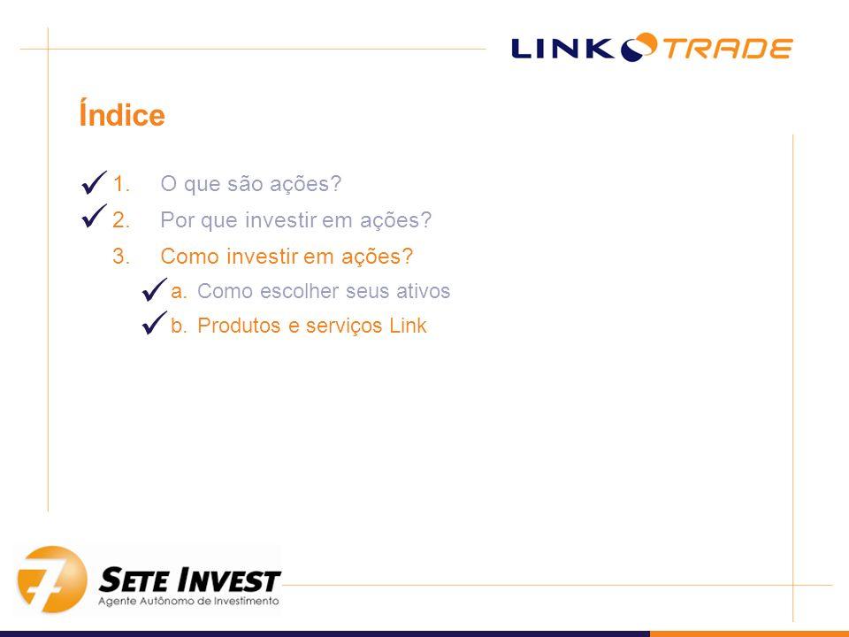 Índice 1.O que são ações? 2.Por que investir em ações? 3.Como investir em ações? a.Como escolher seus ativos b.Produtos e serviços Link