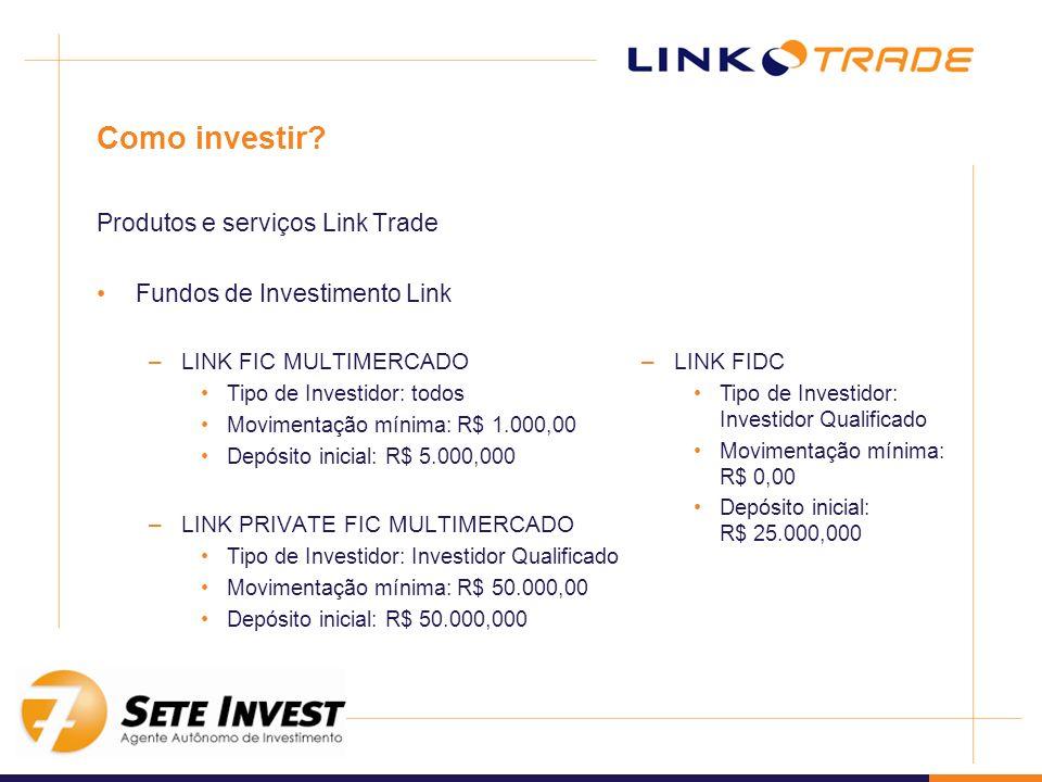 Como investir? Produtos e serviços Link Trade Fundos de Investimento Link –LINK FIC MULTIMERCADO Tipo de Investidor: todos Movimentação mínima: R$ 1.0