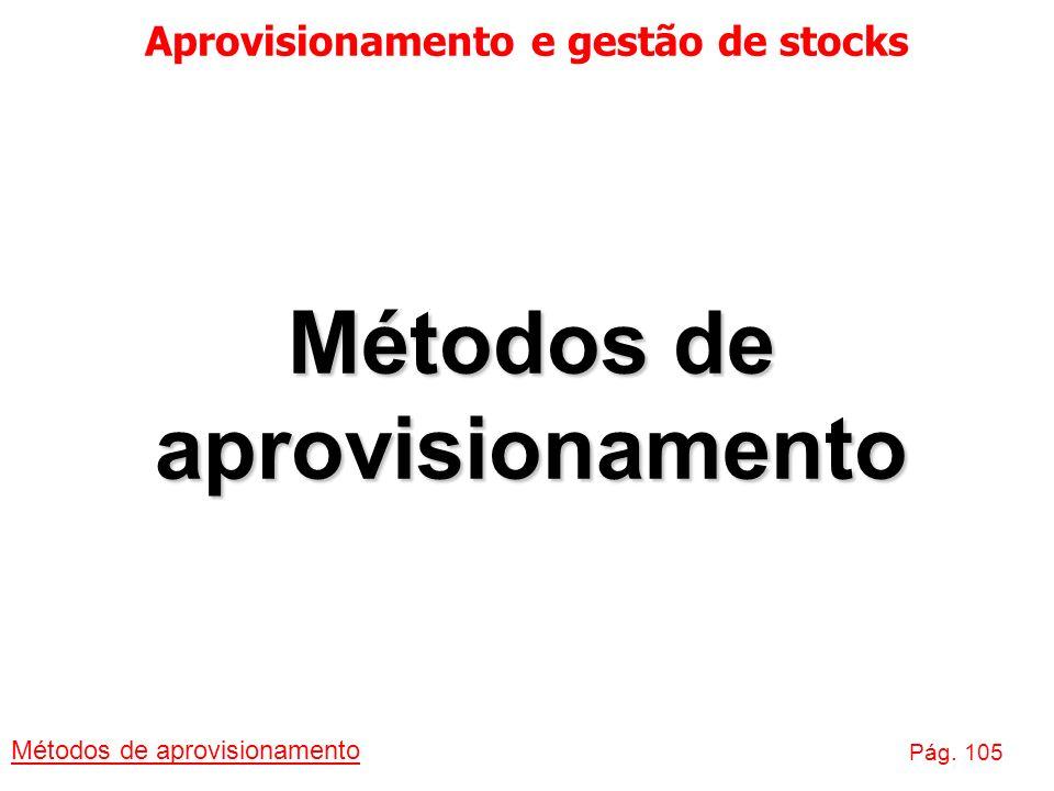 Aprovisionamento e gestão de stocks Métodos de aprovisionamento Pág. 105 Métodos de aprovisionamento