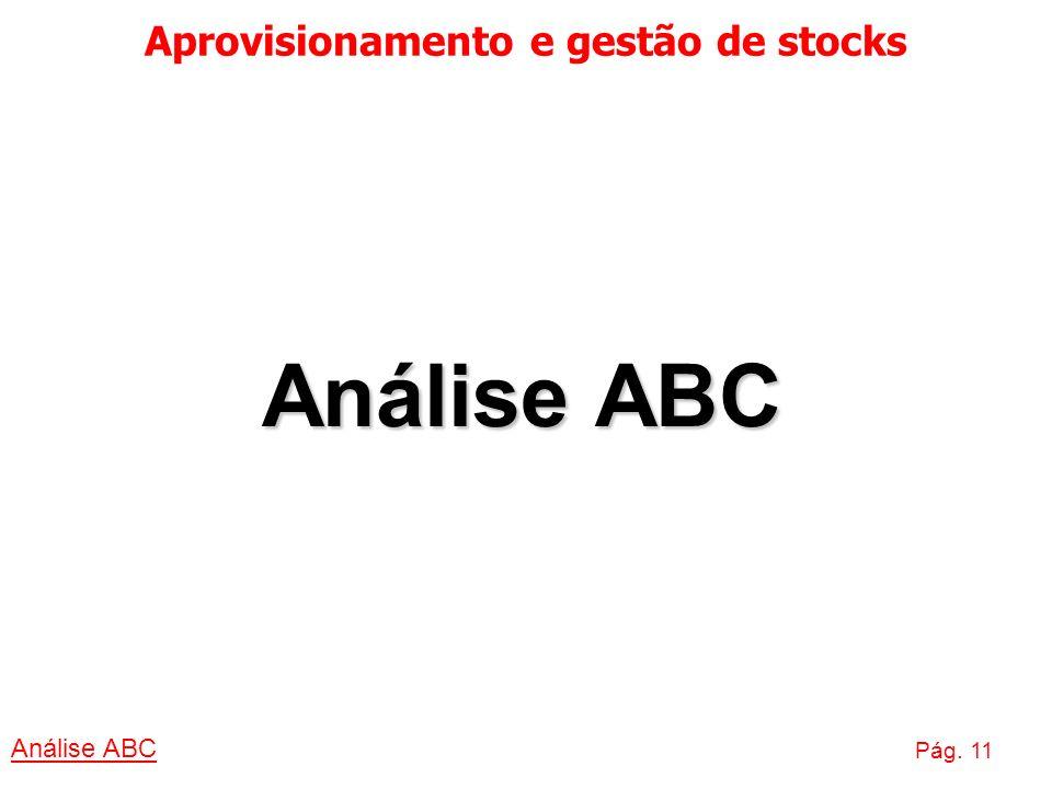 Aprovisionamento e gestão de stocks Análise ABC Pág. 11 Análise ABC