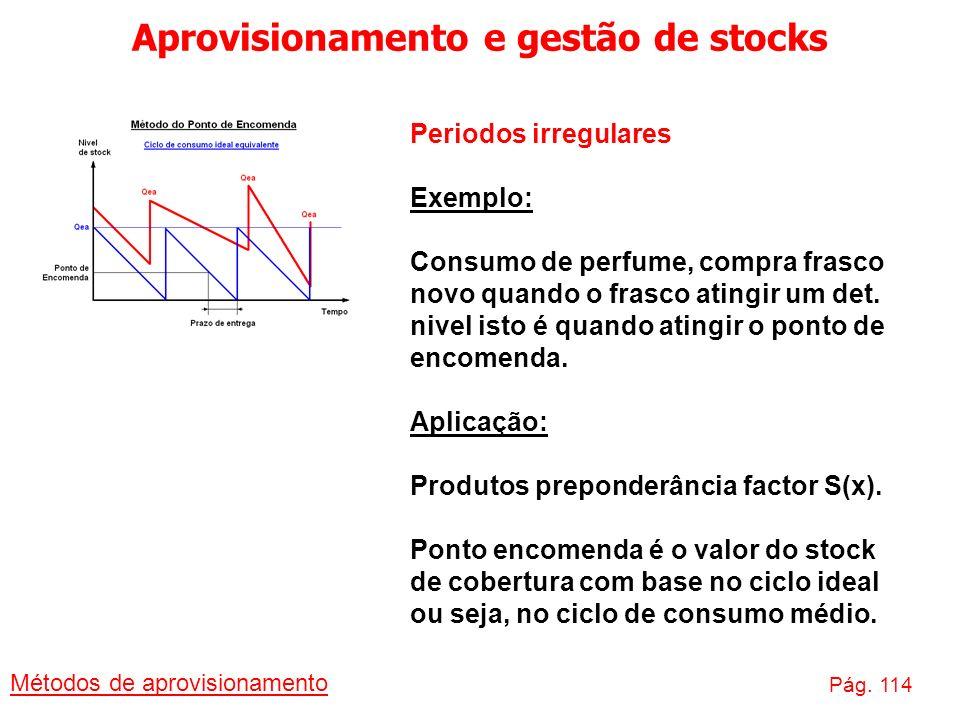 Aprovisionamento e gestão de stocks Métodos de aprovisionamento Pág. 114 Periodos irregulares Exemplo: Consumo de perfume, compra frasco novo quando o