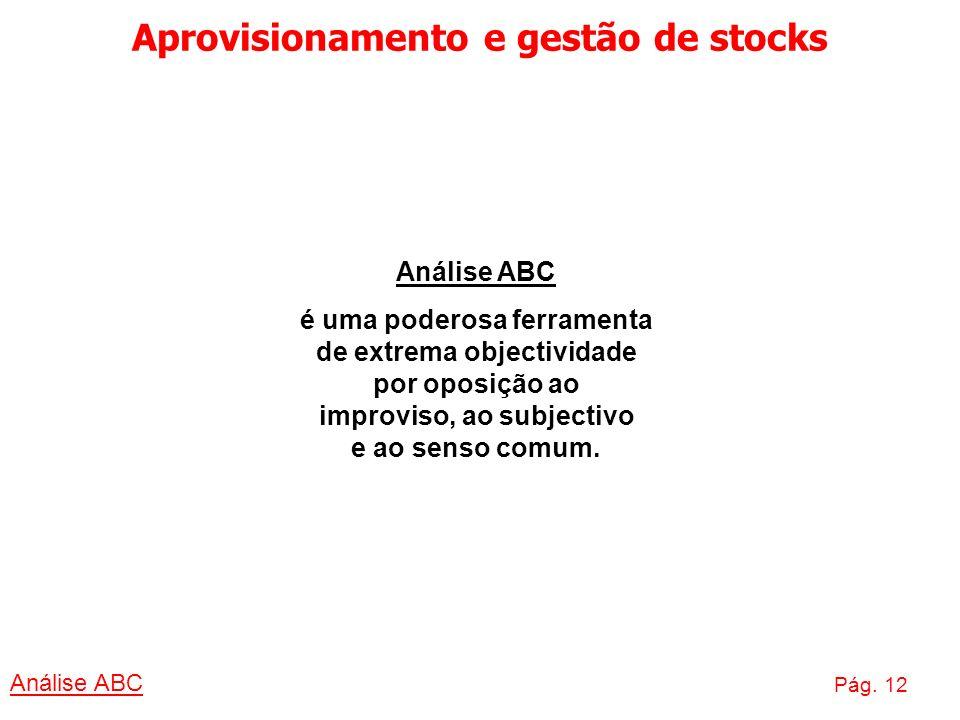 Aprovisionamento e gestão de stocks Análise ABC Pág. 12 Análise ABC é uma poderosa ferramenta de extrema objectividade por oposição ao improviso, ao s