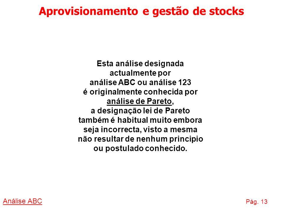 Aprovisionamento e gestão de stocks Análise ABC Pág. 13 Esta análise designada actualmente por análise ABC ou análise 123 é originalmente conhecida po