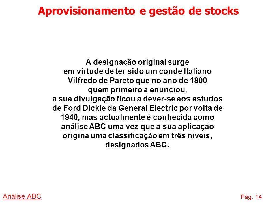 Aprovisionamento e gestão de stocks Análise ABC Pág. 14 A designação original surge em virtude de ter sido um conde Italiano Vilfredo de Pareto que no