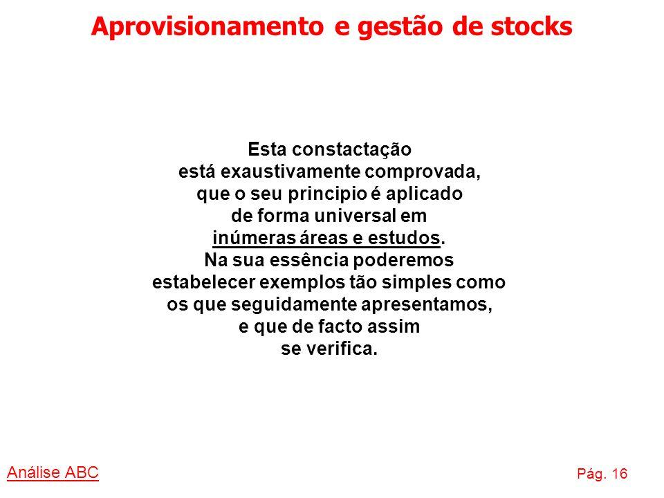 Aprovisionamento e gestão de stocks Análise ABC Pág. 16 Esta constactação está exaustivamente comprovada, que o seu principio é aplicado de forma univ