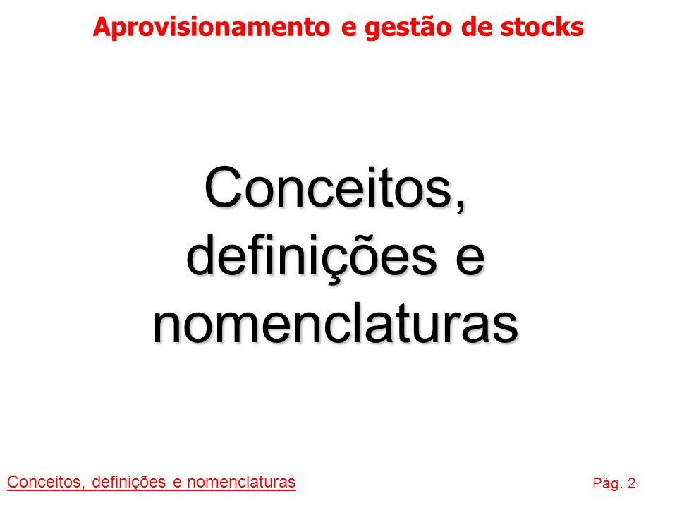 Aprovisionamento e gestão de stocks Conceitos, definições e nomenclaturas Pág. 2 Conceitos, definições e nomenclaturas