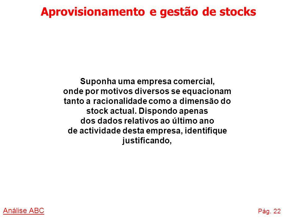 Aprovisionamento e gestão de stocks Análise ABC Pág. 22 Suponha uma empresa comercial, onde por motivos diversos se equacionam tanto a racionalidade c