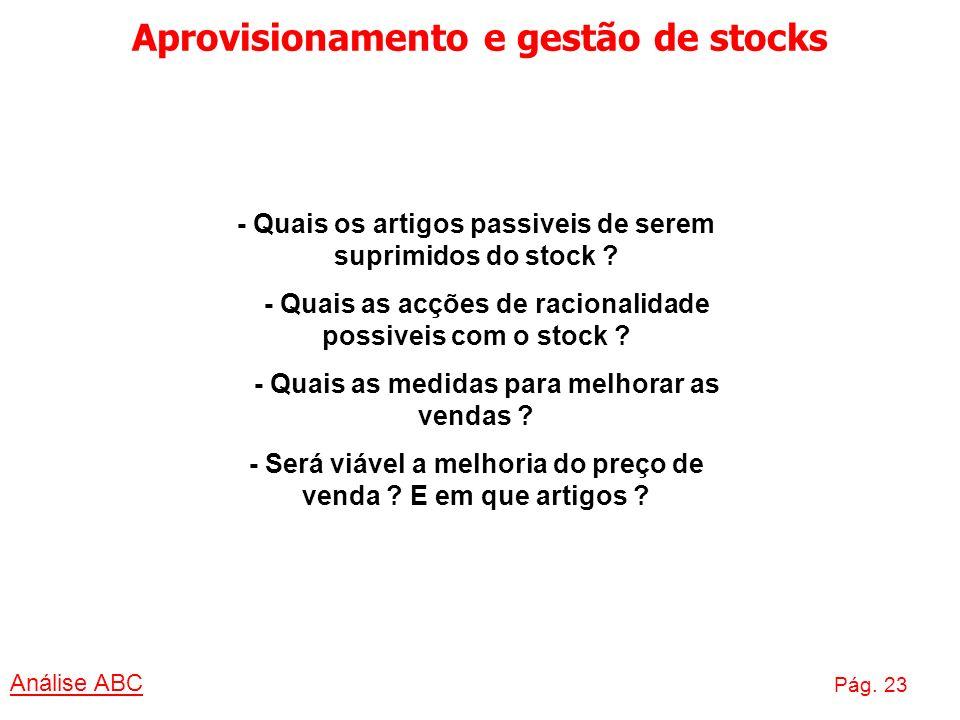 Aprovisionamento e gestão de stocks Análise ABC Pág. 23 - Quais os artigos passiveis de serem suprimidos do stock ? - Quais as acções de racionalidade
