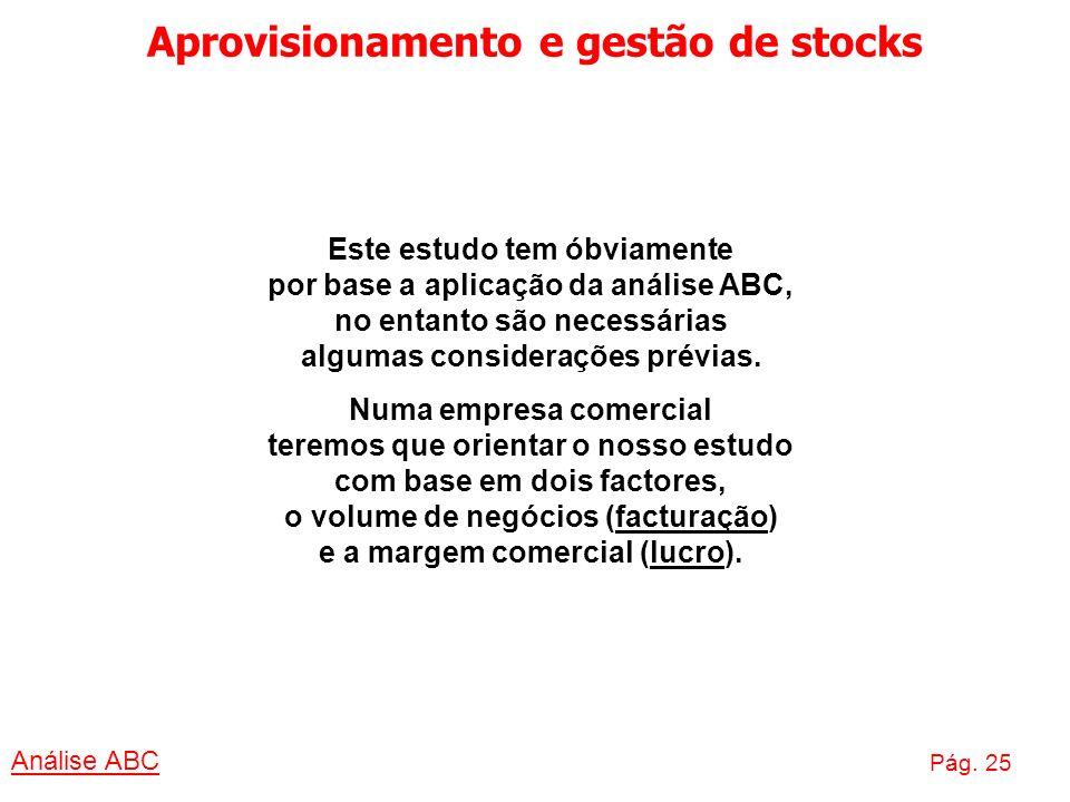 Aprovisionamento e gestão de stocks Análise ABC Pág. 25 Este estudo tem óbviamente por base a aplicação da análise ABC, no entanto são necessárias alg