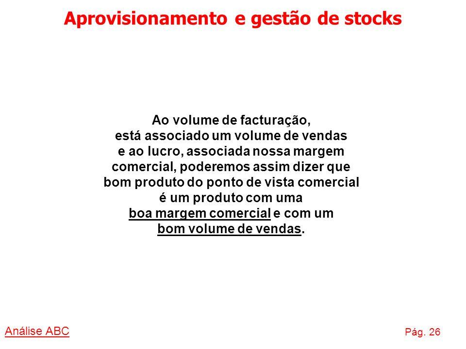 Aprovisionamento e gestão de stocks Análise ABC Pág. 26 Ao volume de facturação, está associado um volume de vendas e ao lucro, associada nossa margem