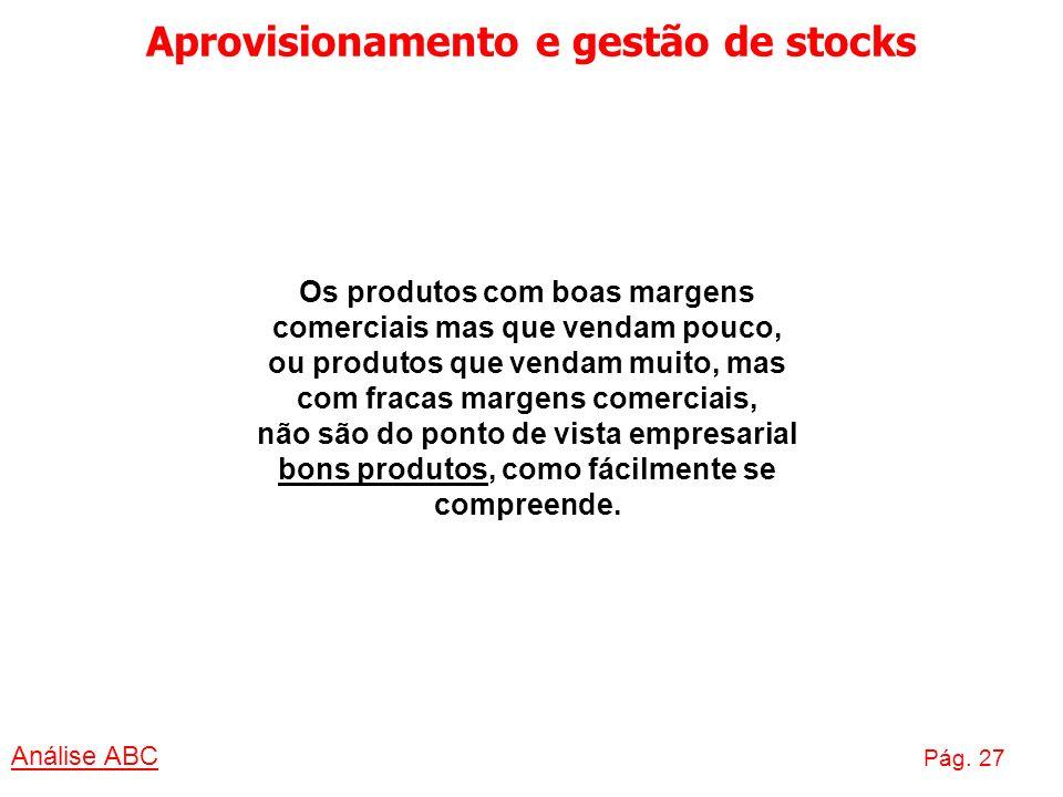 Aprovisionamento e gestão de stocks Análise ABC Pág. 27 Os produtos com boas margens comerciais mas que vendam pouco, ou produtos que vendam muito, ma