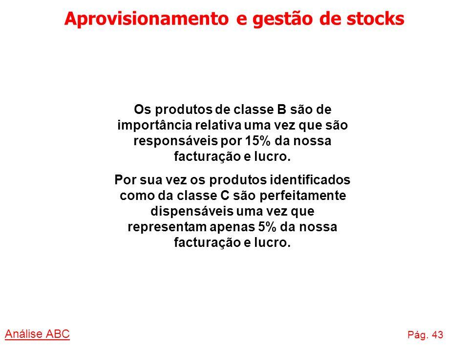 Aprovisionamento e gestão de stocks Análise ABC Pág. 43 Os produtos de classe B são de importância relativa uma vez que são responsáveis por 15% da no
