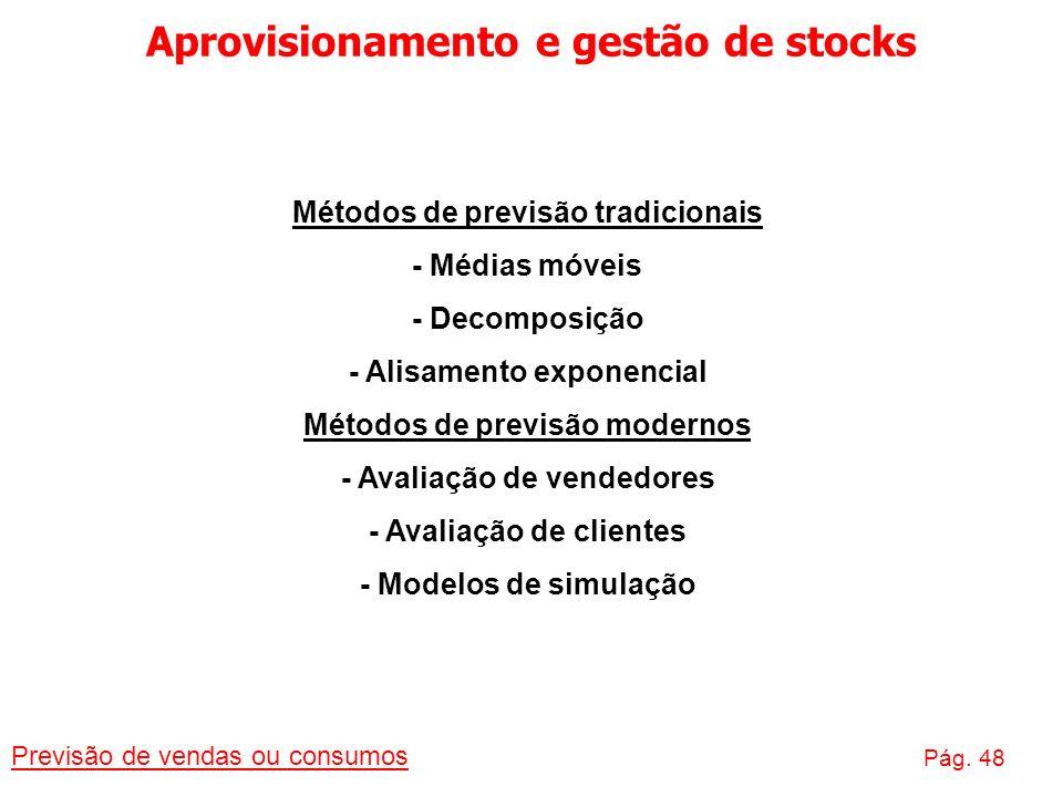Aprovisionamento e gestão de stocks Previsão de vendas ou consumos Pág. 48 Métodos de previsão tradicionais - Médias móveis - Decomposição - Alisament