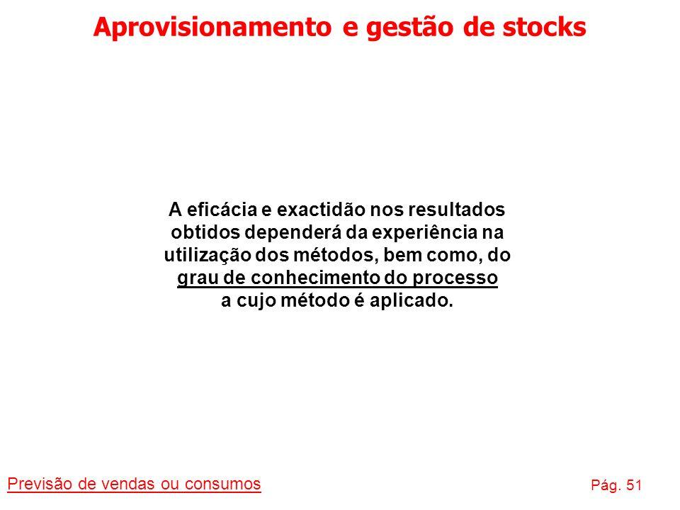 Aprovisionamento e gestão de stocks Previsão de vendas ou consumos Pág. 51 A eficácia e exactidão nos resultados obtidos dependerá da experiência na u
