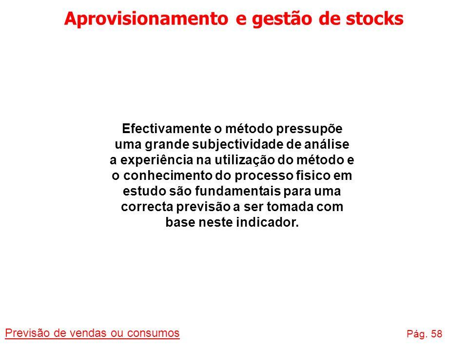 Aprovisionamento e gestão de stocks Previsão de vendas ou consumos Pág. 58 Efectivamente o método pressupõe uma grande subjectividade de análise a exp