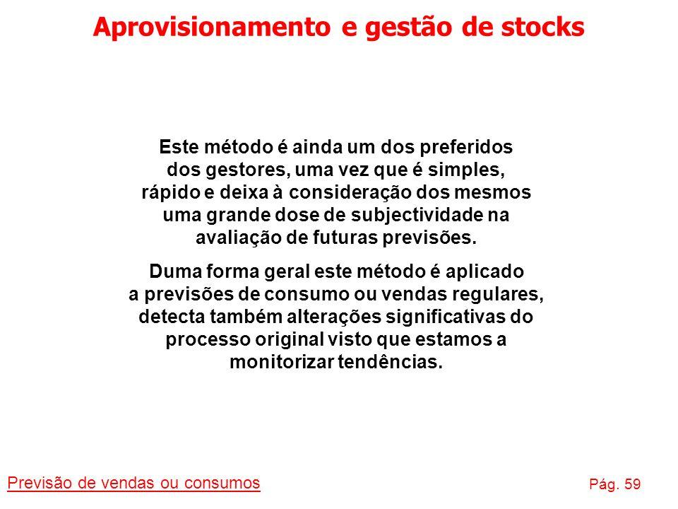 Aprovisionamento e gestão de stocks Previsão de vendas ou consumos Pág. 59 Este método é ainda um dos preferidos dos gestores, uma vez que é simples,