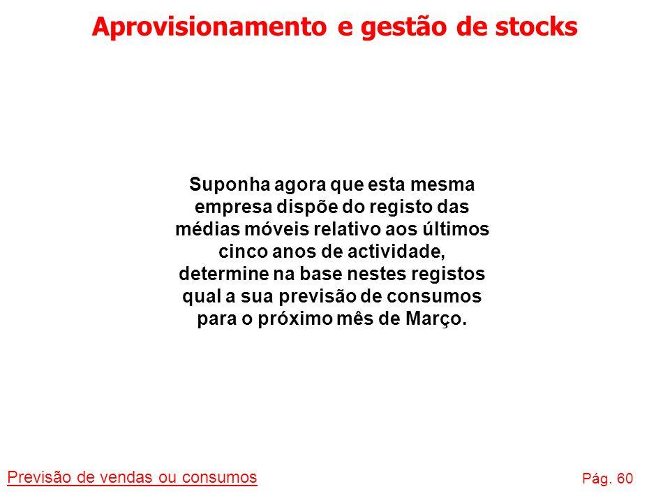 Aprovisionamento e gestão de stocks Previsão de vendas ou consumos Pág. 60 Suponha agora que esta mesma empresa dispõe do registo das médias móveis re