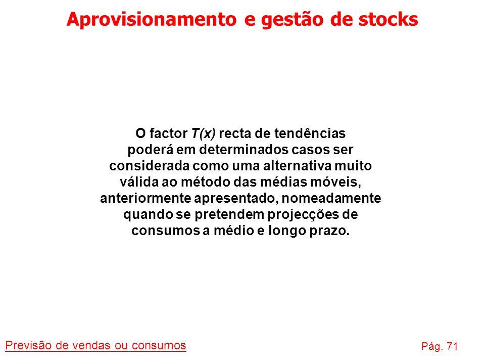 Aprovisionamento e gestão de stocks Previsão de vendas ou consumos Pág. 71 O factor T(x) recta de tendências poderá em determinados casos ser consider