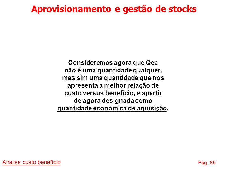 Aprovisionamento e gestão de stocks Análise custo benefício Pág. 85 Consideremos agora que Qea não é uma quantidade qualquer, mas sim uma quantidade q