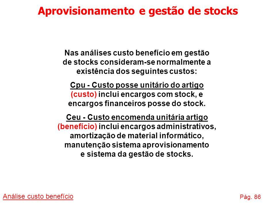 Aprovisionamento e gestão de stocks Análise custo benefício Pág. 86 Nas análises custo benefício em gestão de stocks consideram-se normalmente a exist