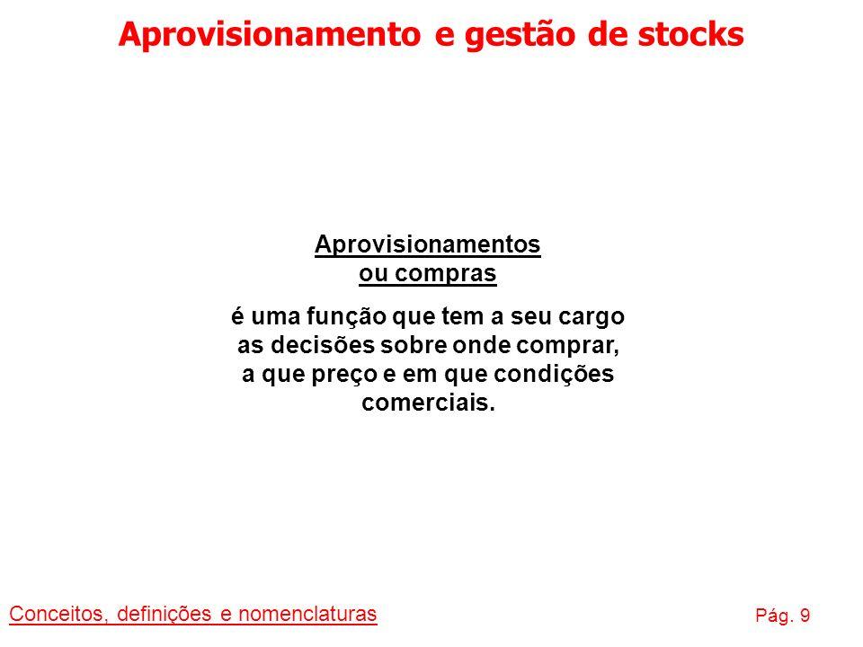 Aprovisionamento e gestão de stocks Conceitos, definições e nomenclaturas Pág. 9 Aprovisionamentos ou compras é uma função que tem a seu cargo as deci