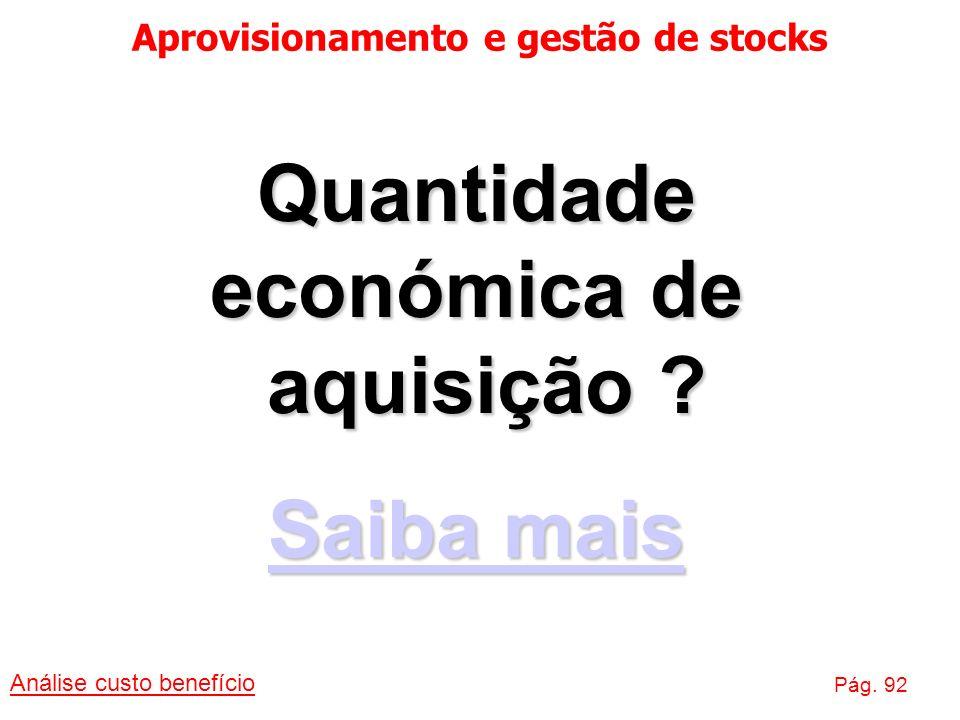 Aprovisionamento e gestão de stocks Análise custo benefício Pág. 92 Quantidade económica de aquisição ? Saiba mais Saiba mais