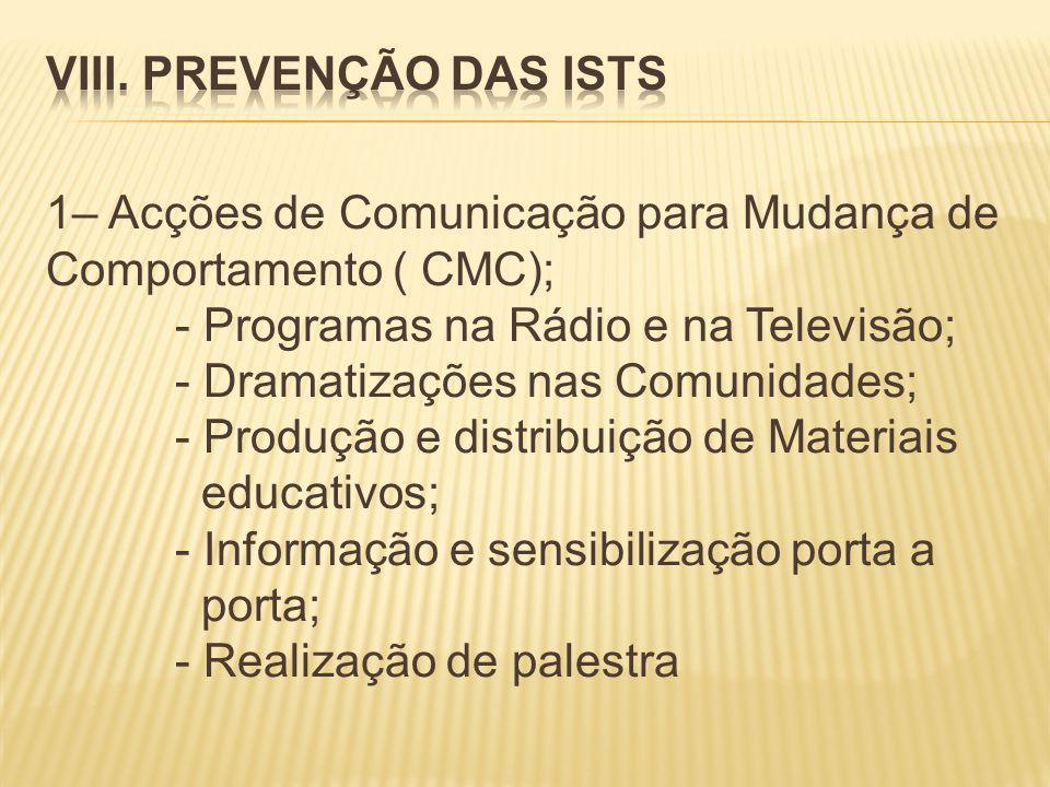 1– Acções de Comunicação para Mudança de Comportamento ( CMC); - Programas na Rádio e na Televisão; - Dramatizações nas Comunidades; - Produção e distribuição de Materiais educativos; - Informação e sensibilização porta a porta; - Realização de palestra
