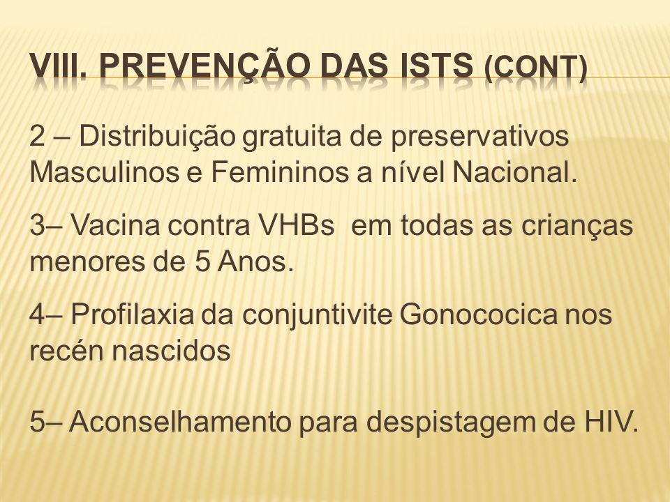 2 – Distribuição gratuita de preservativos Masculinos e Femininos a nível Nacional.
