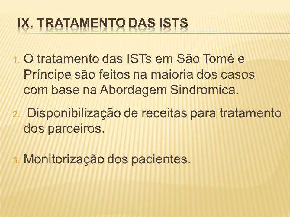 1. O tratamento das ISTs em São Tomé e Príncipe são feitos na maioria dos casos com base na Abordagem Sindromica. 2. Disponibilização de receitas para