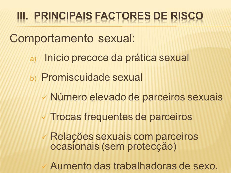Comportamento sexual: a) Início precoce da prática sexual b) Promiscuidade sexual Número elevado de parceiros sexuais Trocas frequentes de parceiros Relações sexuais com parceiros ocasionais (sem protecção) Aumento das trabalhadoras de sexo.