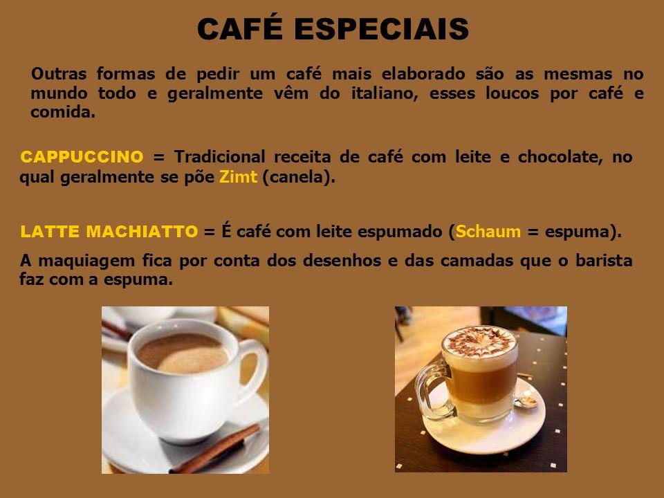 CAFÉ ESPECIAIS CAPPUCCINO = Tradicional receita de café com leite e chocolate, no qual geralmente se põe Zimt (canela).