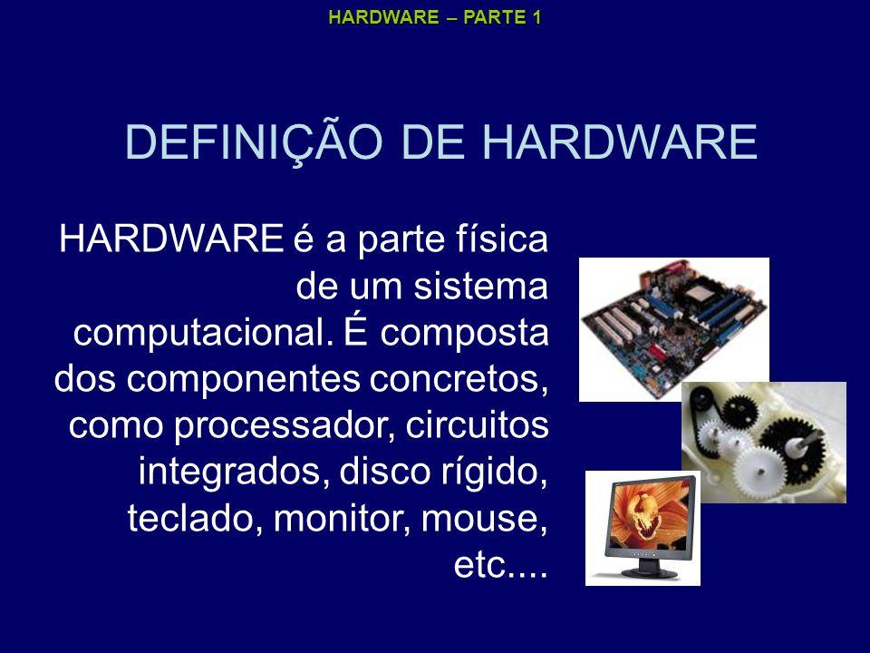 HARDWARE – PARTE 1 DEFINIÇÃO DE HARDWARE HARDWARE é a parte física de um sistema computacional. É composta dos componentes concretos, como processador