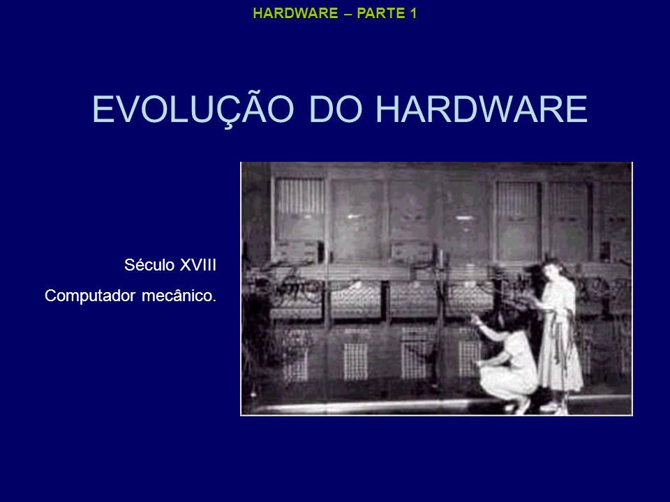 HARDWARE – PARTE 1 EVOLUÇÃO DO HARDWARE Década de 40 : Computador eletromecânico, com relés e válvulas.