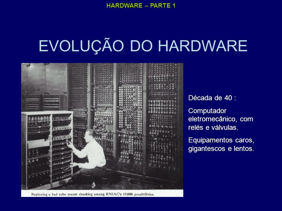 HARDWARE – PARTE 1 EVOLUÇÃO DO HARDWARE Década de 40 : Computador eletromecânico, com relés e válvulas. Equipamentos caros, gigantescos e lentos.