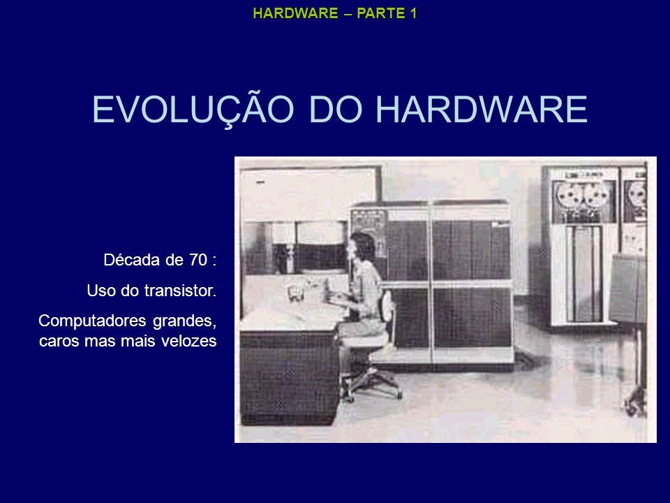 HARDWARE – PARTE 1 EVOLUÇÃO DO HARDWARE Década de 70 : Uso do transistor. Computadores grandes, caros mas mais velozes